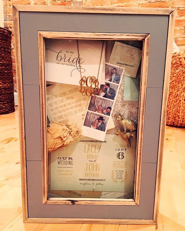 after your wedding, pull together little details from your big day and assemble them in a shadow box. super easy to DIY and makes for great house decor! we used: invitations, dried flowers, place cards & place card holders, photo booth strip, cocktail napkins, swatches from bride and bridesmaid dresses, letters to the bride/groom, and the brides new monogram necklace.
