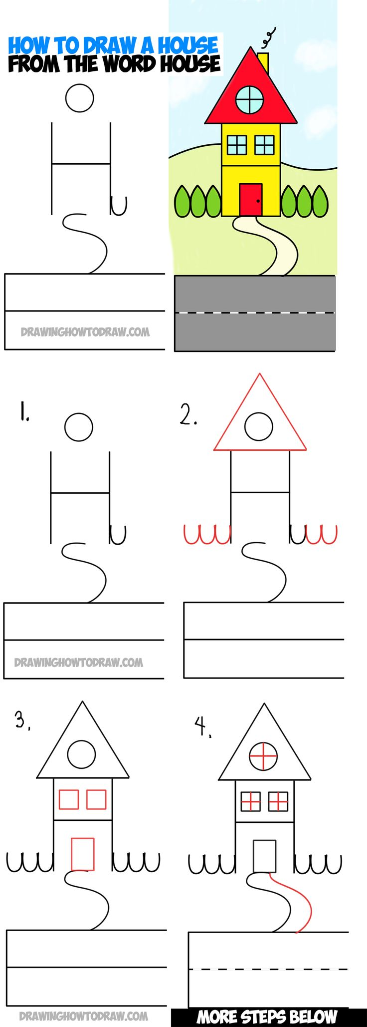 How to Draw a Cartoon House from the word HOUSE : a Simple Word Cartoon Step by step Drawing Tutorial for Kids