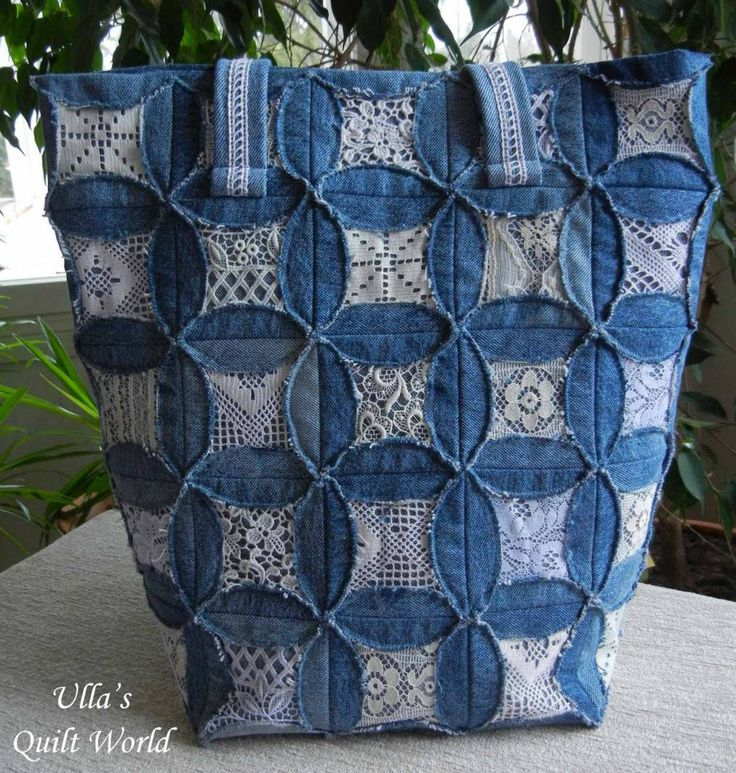 pretty denim and lace bag...looks like cathedral window pattern