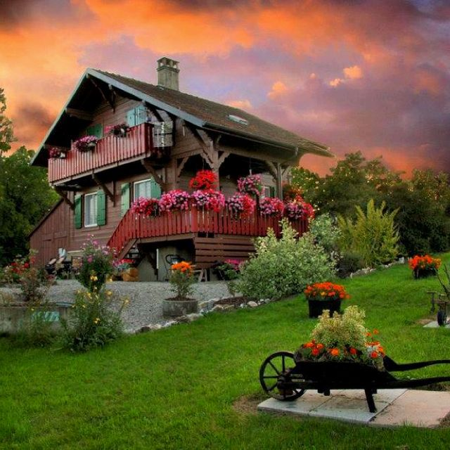 Swiss chalet in the mountains , this is the style of house I grew up in . 3 story and my room at the top
