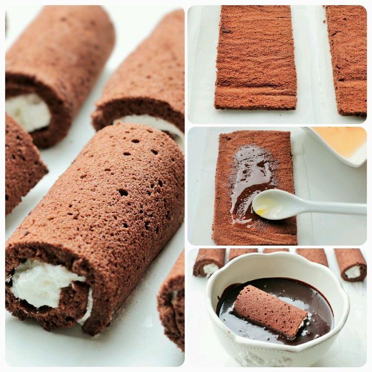 Çikolatalı Mini Rulo Pasta - (pembecupcake) - Aşırı lezzetli :)