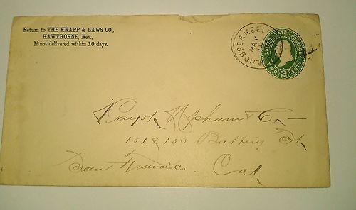 1894 Mound House & Keeler Nevada Inyo Cal RPO Hawthorne CC Knapp Laws Cover  Starting bid:	US $99.00