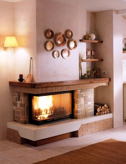 fireplace idea- since our fireplace is on a corner like this