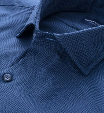 Navy 100s Glen Plaid Tailor Made Shirt by Proper Cloth