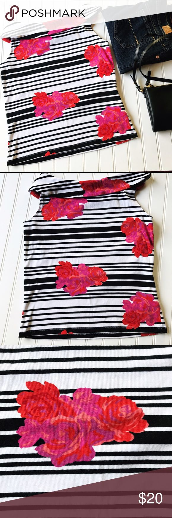 "Rafaella Sleeveless Black And White Top Rafaella Sleeveless Black And White Top with pink and red roses.    100% Cotton   Bust 36"" Length 20"" Rafaella Tops Tees - Short Sleeve"