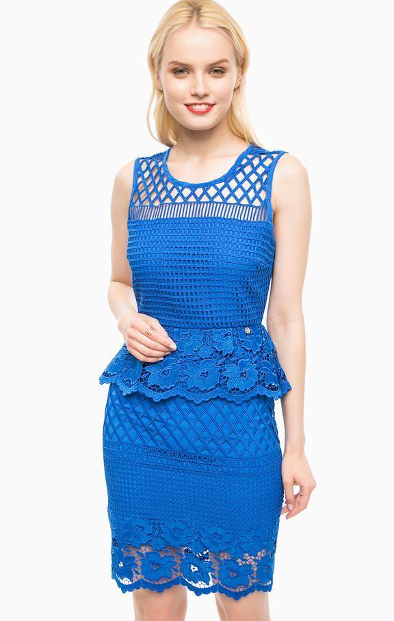 Синее кружевное платье на молнии I17506J1721 94150 платье застегивается сзади на молнию и крючок, длина по переду для размера 40 (42) - 92 см, купить в интернет-магазине. Цена: 12500
