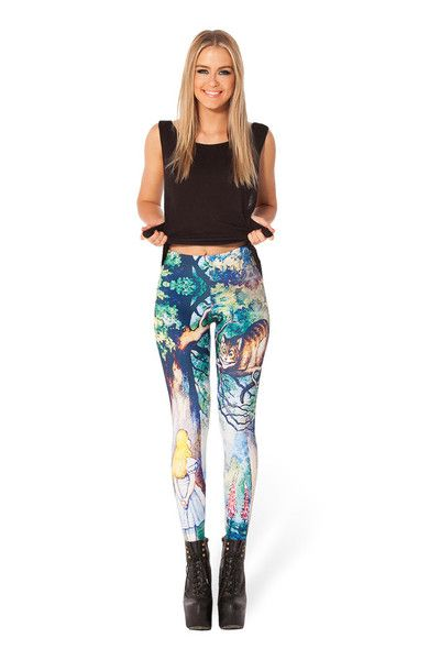 Show some personality while you work up a sweat. Cheshire Cat Leggings from BLACK MILK CLOTHING