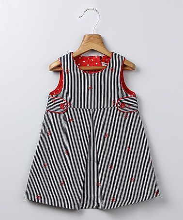 Take a look at this Navy Stripe Bow A-Line Dress - Infant & Toddler by Beebay on #zulily today!