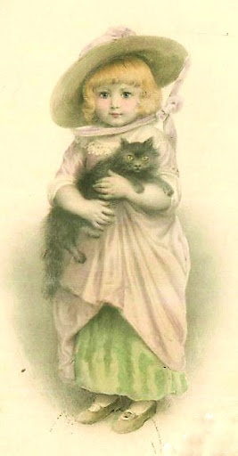 Victorian girl and cat