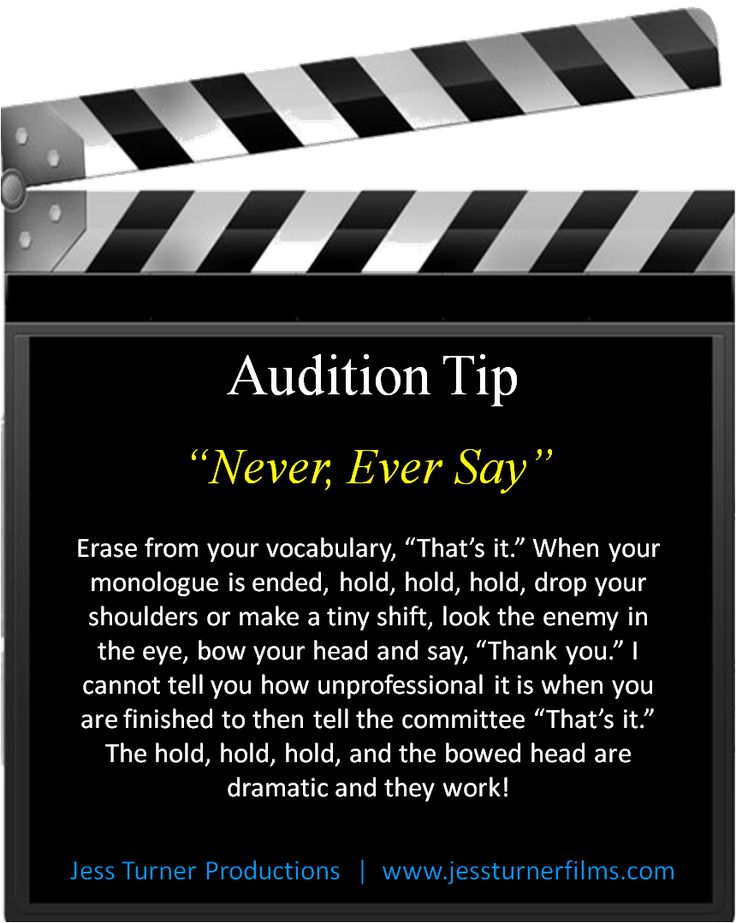 Follow us on Facebook for actor quotes and audition tips - www.facebook.com/JessTurnerProductions Great audition tips!
