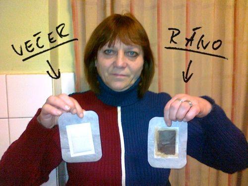 Detoxikační náplasti před a po použití