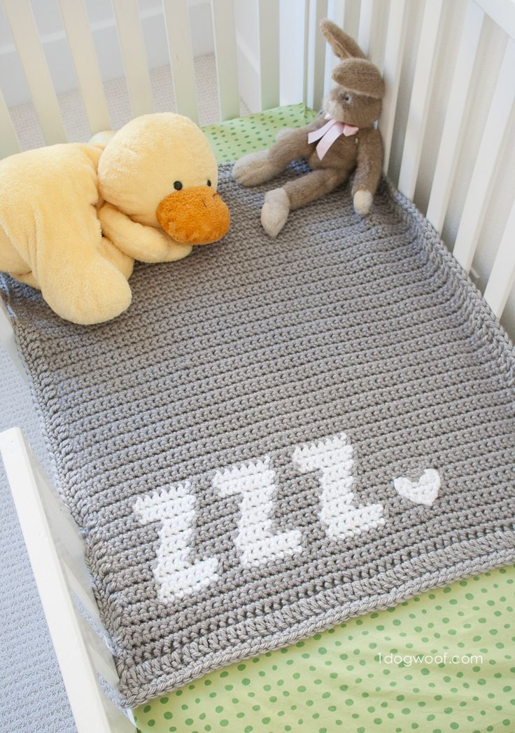 Get Some Zzz's baby blanket - a super simple and modern crochet blanket.