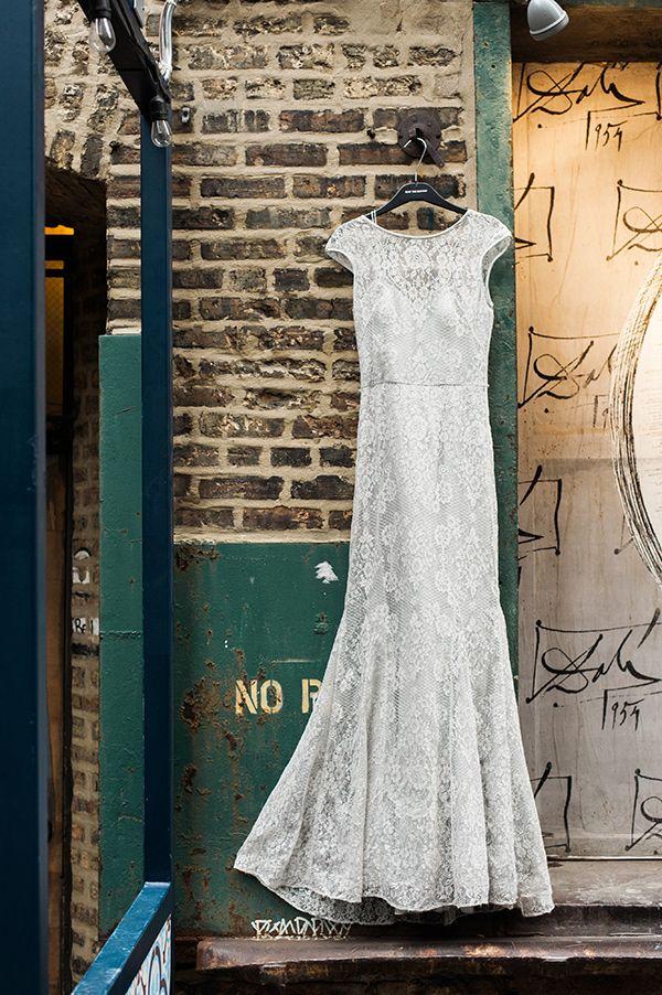 lace Theia wedding gown, photo by Photography Stylistas http://ruffledblog.com/elegant-parisian-styled-wedding #weddingdress #gown #bridal