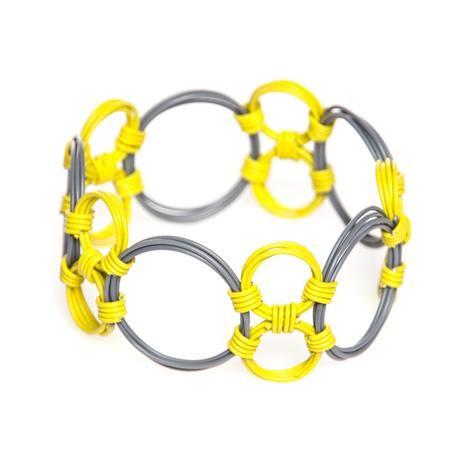 thumbnail for Multi-circle bangle - grey and yellow