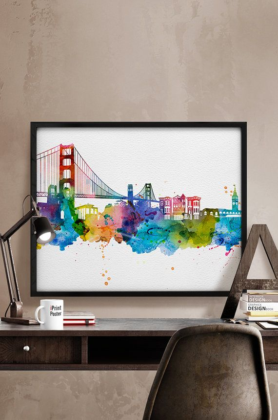 San Francisco skyline watercolor San Francisco Art by iPrintPoster