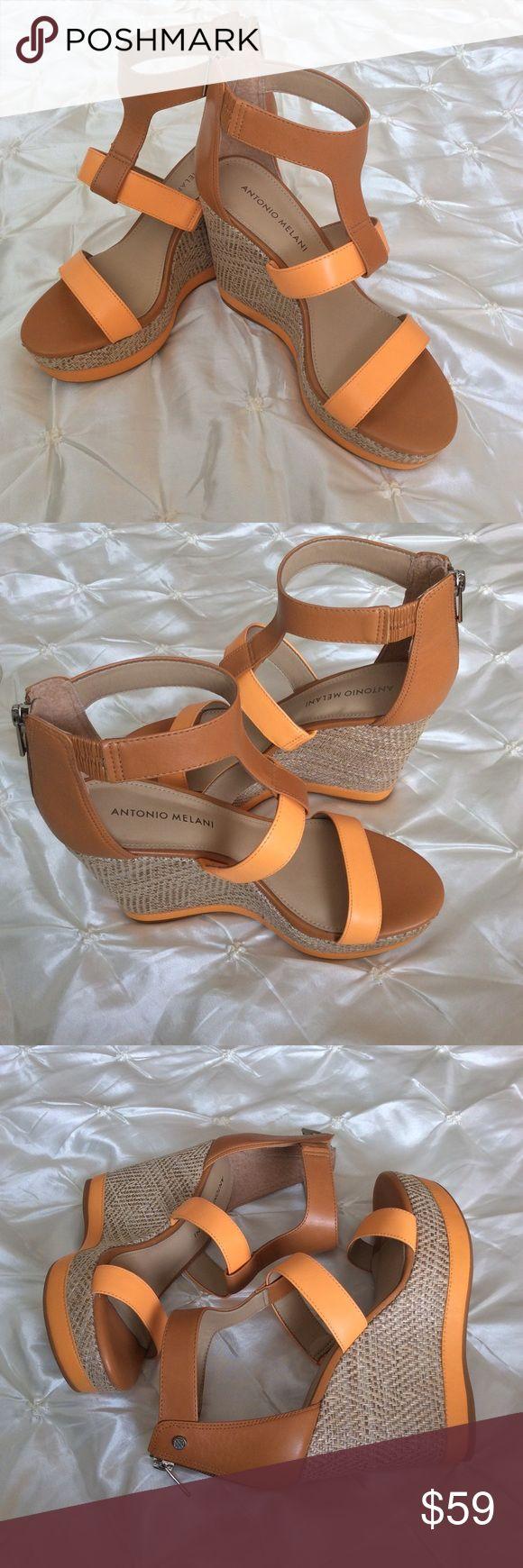 "ANTONIO MELANI High Wedge Backstrap Sandals Beautiful tan and orange wedges by Antonio Melani! Leather upper! 4.5"" heels 1.5"" platforms. Made in Brazil.  ANTONIO MELANI Shoes Wedges"