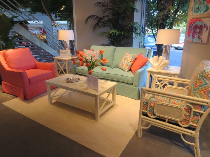 Sunny Cheerful Coral And Aqua Living Room By Braxton Culler 2013 Fall High Point Furniture Market