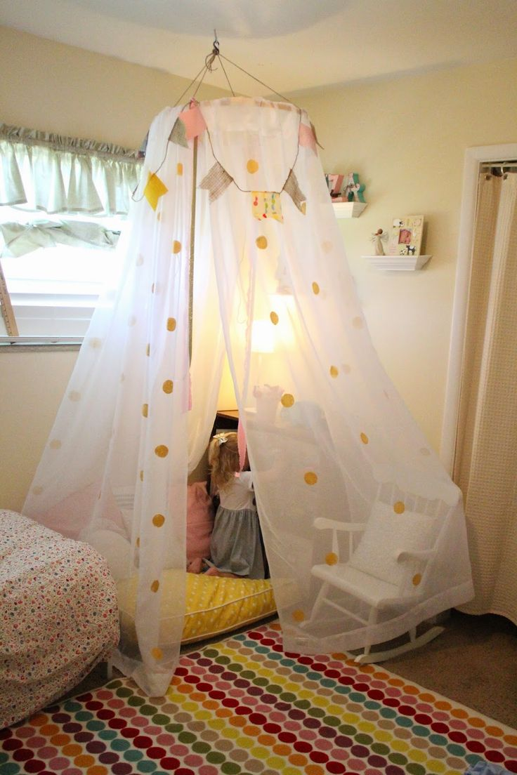 Girls bed canopy ideas - Mommy Vignettes Diy No Sew Tent Canopy Tutorial