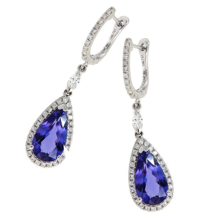 18KT White Gold Michael Christoff 6.71ctw Tanzanite Pear .81ctw Diamond Round Earrings - L Rochelle