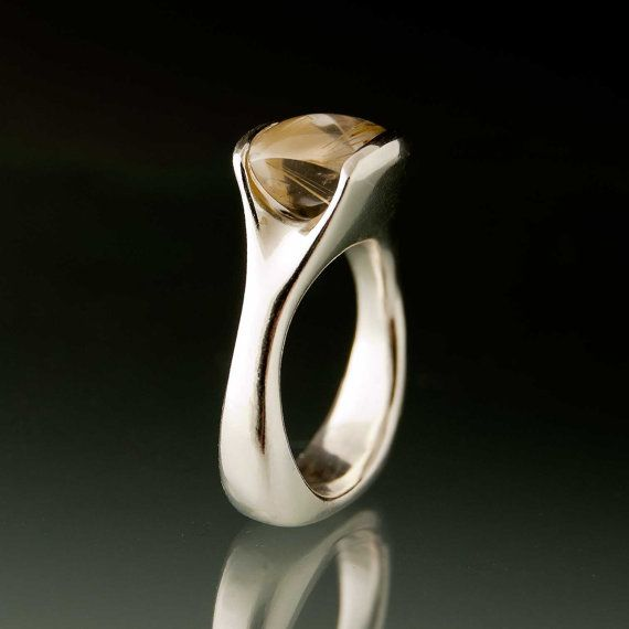 Rutile Quartz Sterling Silver Fold Ring #engagement #ring