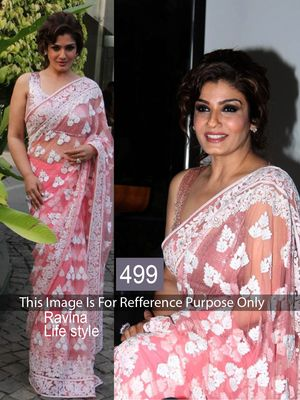 Raveena Tandon Peach & White Net Designer Saree Bollywood Sarees Online on Shimply.com