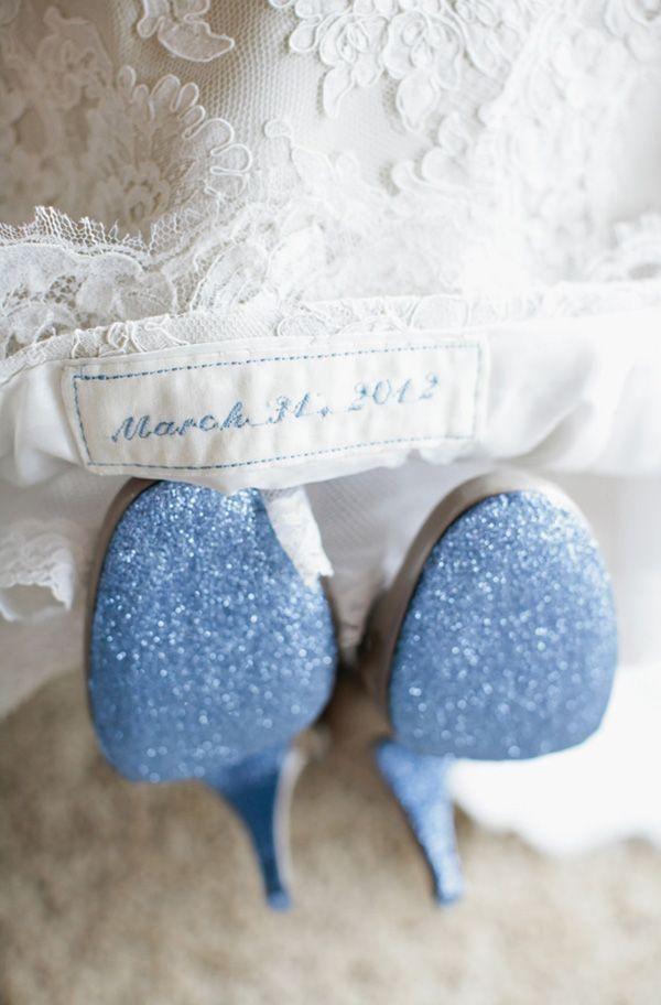 Something Blue times Two!   we ❤ this!  moncheribridals.com  #weddingsomethingblue #blueweddingshoes