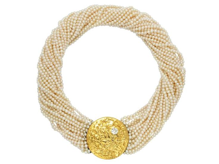 Diamond, Cultured Pearl and 18K Gold Necklace, Beni Sung