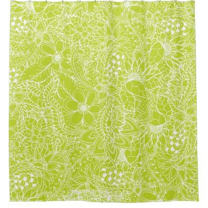 Hand drawn floral lace illustration lime green shower curtain - shower curtains home decor custom idea personalize bathroom