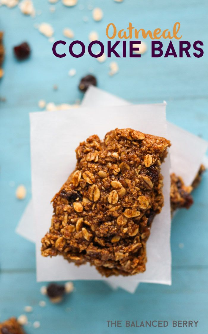 Oatmeal Cookie Bars - A healthy baked bar that tastes like traditional oatmeal cookies, but is free of gluten, butter and refined sugar. Perfect for an on-the-go breakfast!   thebalancedberry.com #glutenfree