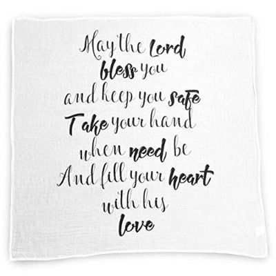 May the Lord Baby Swaddle Blanket by Ocean Drop Designs - Muslin Swaddle Wrap with Scripture Quote for Baby Shower, Christening Gift or Baptism Gift - Receiving Blanket, Privacy Throw - 100% Cotton