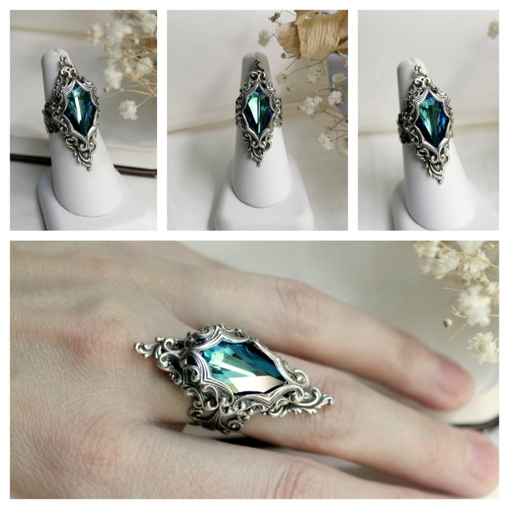 Lady of the Ocean Aged Silver and Swarovski Ring- Blue - Aqua - Silver - Victorian - Fantasy - Water. I'm so in love with this, it reminds me of the song The Siren by Nightwish.