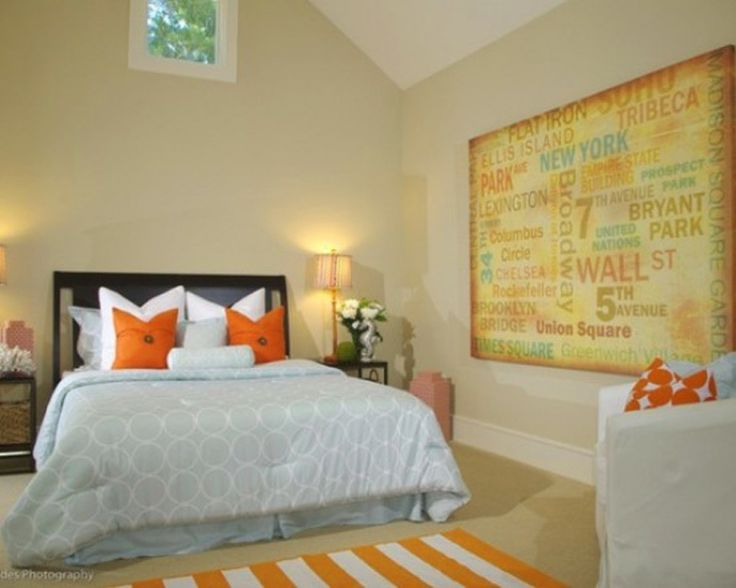 Colorful Bedroom With Orange Accents For The Home