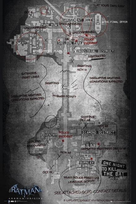 Batman Origins Map of Gotham City Poster Print (24 x 36) - Item # XPE160038