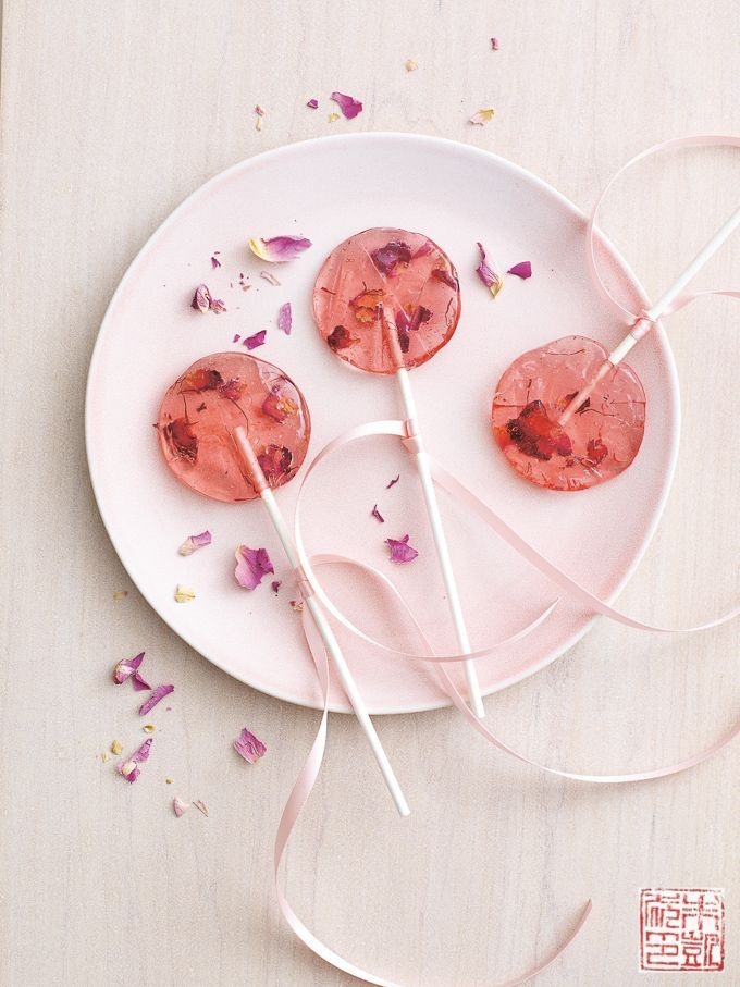 Rose Saffron Lollipops for National Lollipop Day - Dessert First