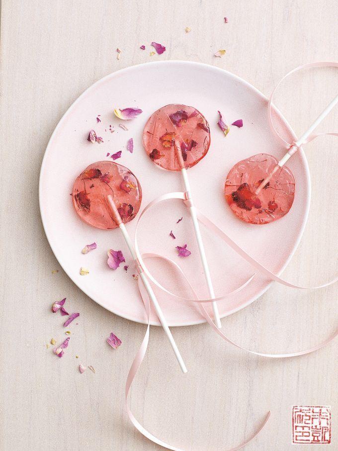 Rose Saffron Lollipops for National Lollipop Day - Dessert First