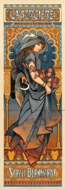 Alphonse Mucha (Czech, 1860 - 1939). Model Poster for the With of Victorian Sardou, 1903. Watercolor gouache, 64 x 46 cm. Louise Abbema was chosen to do the final poster.