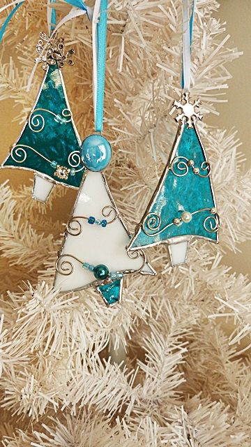 Stained Glass Christmas Tree Ornaments Teal and White by miloglass