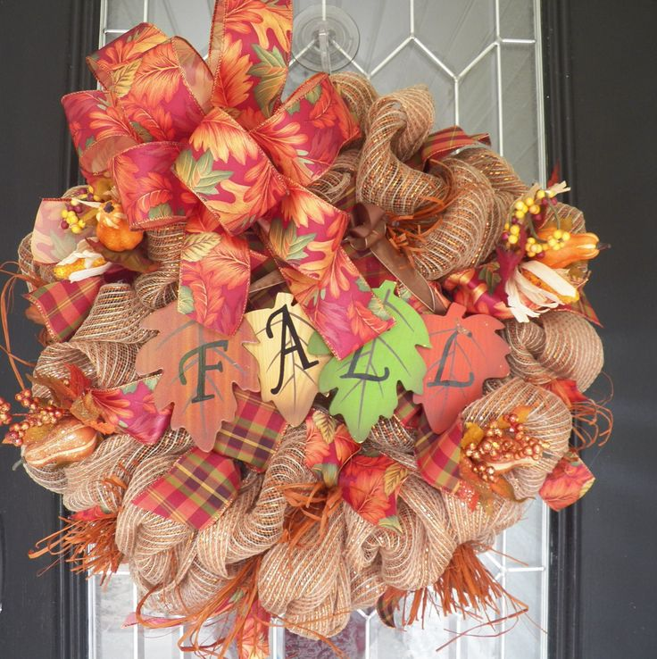 Burlap Fall Wreath, Burlap Door Hanger, Fall Door Hanger, Wreath for Door, Front door wreath, Ready to Ship by OccasionsBoutique on Etsy
