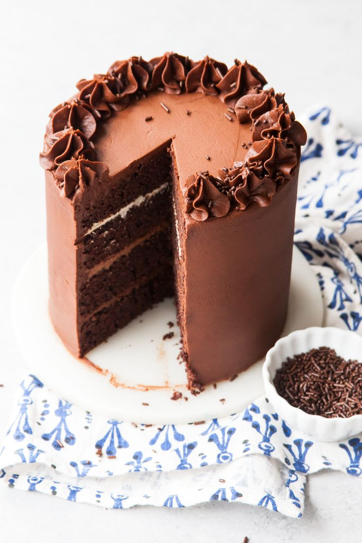 Chocolate Fudge Layer Cake with ombré chocolate filling