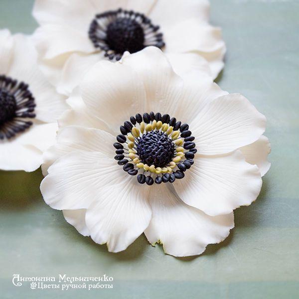 Купить Белый анемон - брошь, зажим, заколка - Холодный фарфор, цветы ручной работы