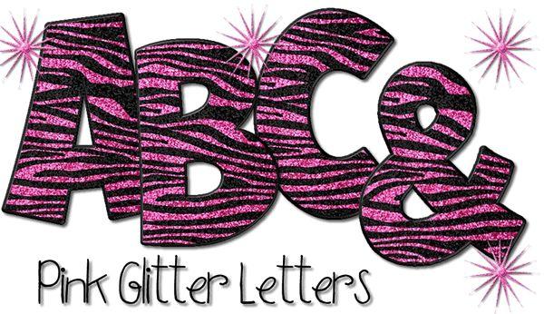 Pink Glitter Animal Print Letters (A-Z Alphabet)