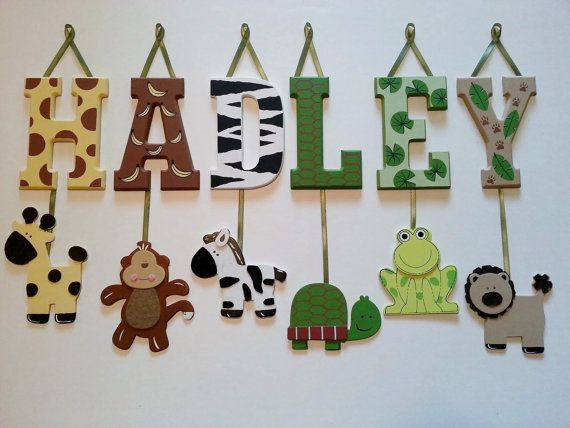 Jungle Wood Wall Decor : Best hanging wooden letters ideas on