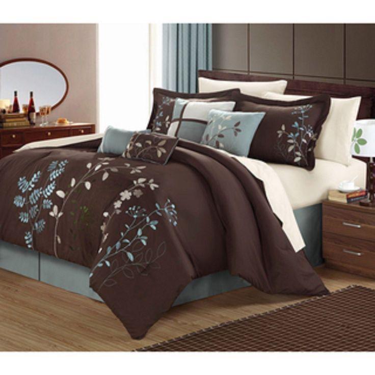 Luxury Bedding Sets Modern Comforter Set Queen King Teal Blue Brown Bed In A Bag - Bed-in-a-Bag