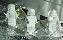 Lego minifigures aboard the Juno spacecraft. Made of aluminium, they represent the Roman god Jupiter, his sister and wife, the goddess Juno and Galileo.