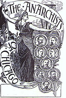 "Haymarket affair - This sympathetic engraving by English Arts and Crafts illustrator Walter Crane of ""The Anarchists of Chicago"" was widely circulated among anarchists, socialists, and labor activists."
