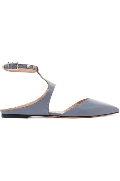 Valentino - The Rockstud Leather Point-toe Flats - Sky blue - IT