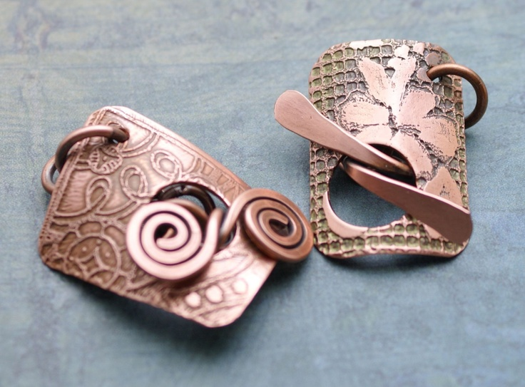 Handmade Two Small Etched Copper Patina Toggle Clasps $15