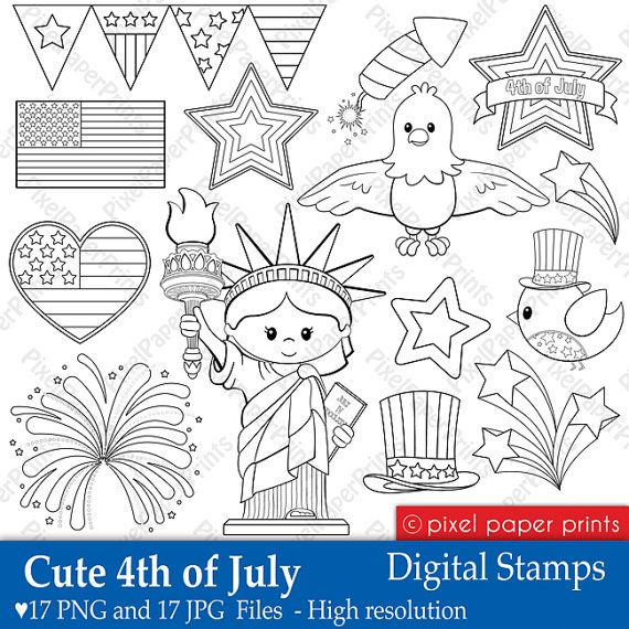 Cute 4th of July - Digital Stamps