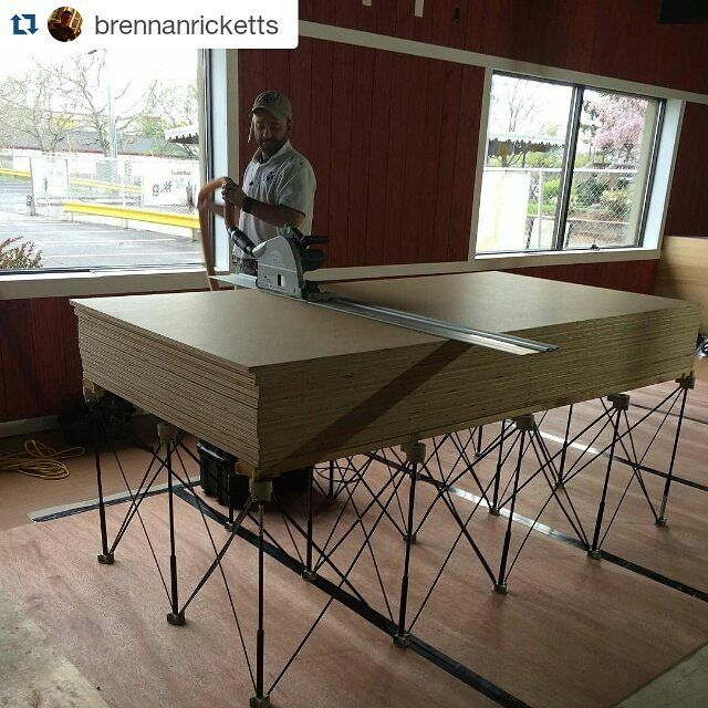 The latest giant stack of #plywood on a #CentipedeSupportXL includes 17 sheets... #Repost @brennanricketts:  We're putting our new @festool_usa track saw to the test on this bunk of plywood. 17 sheets on the @centipedetool ・・・ with @repostapp #CentipedeTool #portable #workbench #lumber #tracksaw #festool #carpenter #carpentry #contractor #construction #tools #protools #wood