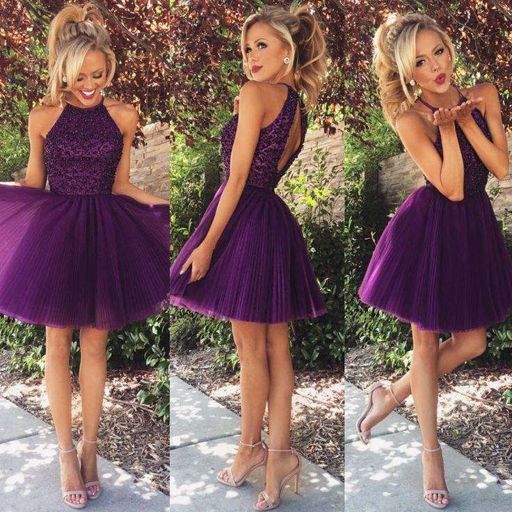 Aliexpress.com: Comprar Púrpura oscuro Shor vestidos fiesta 2015 cuello Halter con cuentas plisados Tulle Mini Keyhole volver vestidos de cóctel atractivo del Club del vestido de vestido de la calidad fiable proveedores en Honeywedding